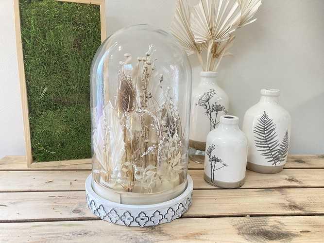 Cloche en verre Fleurs séchées 0